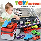 Toys Bhoomi Race Along Huge Long Haul Transport Truck with 8 Vehicles Included and Holds Upto 22 (Multicolour)