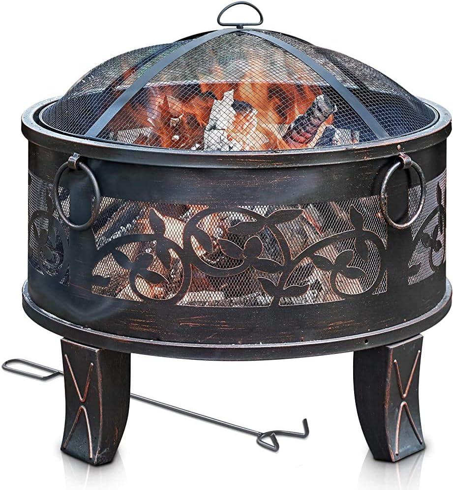 Brasero pozo de fuego, con un hierro guardia chispa de malla, parrilla y metálico poker fuego, (26 pulgadas redondo),Metallic