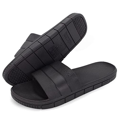 2d631b4a018de Moodeng Shower Slippers Men and Women Non-Slip Causal Indoor Home Bathroom  Sandals Poolside Black