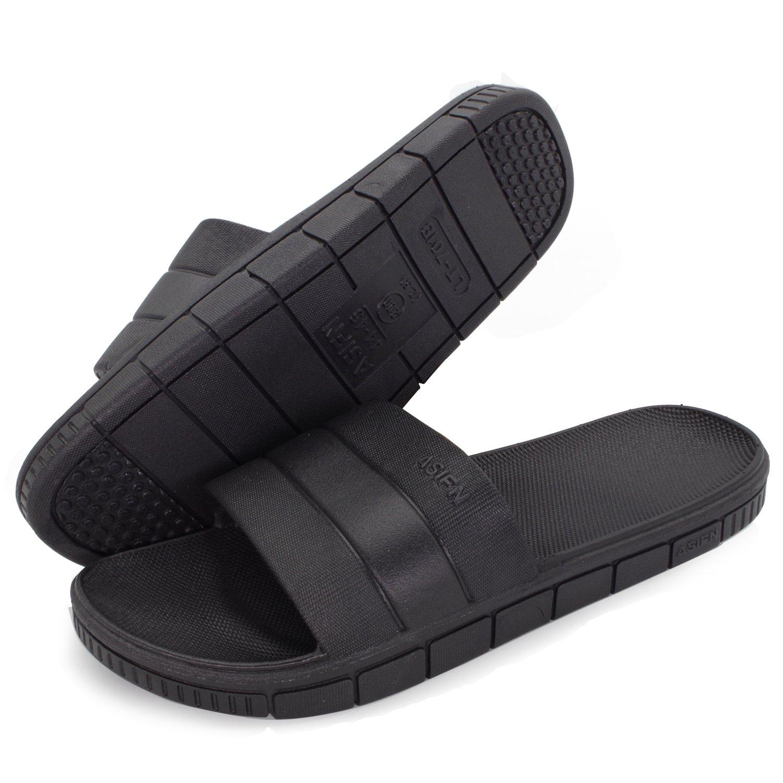 Moodeng Shower Slippers Men and Women Non-Slip Causal Indoor Home Bathroom Sandals Poolside,US women 11-11.5/men 10-10.5,Black