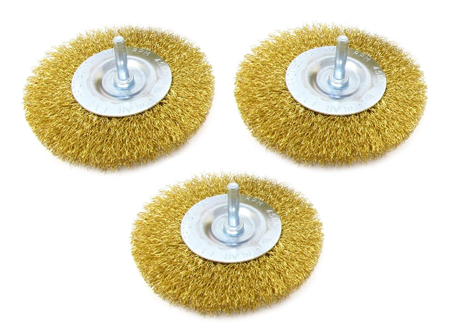 Set of 6 Wire Brush Kit For Drill Brass Coated