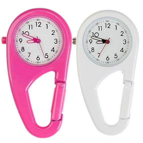 Set de 2pcs Unisex Clip de Metal de/llavero/relojes de bolsillo con mosquetón