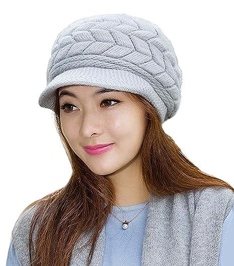 Loritta Womens Winter Warm Knitted Hats Slouchy Wool Beanie Hat Cap ... 6b70eaaa0bc