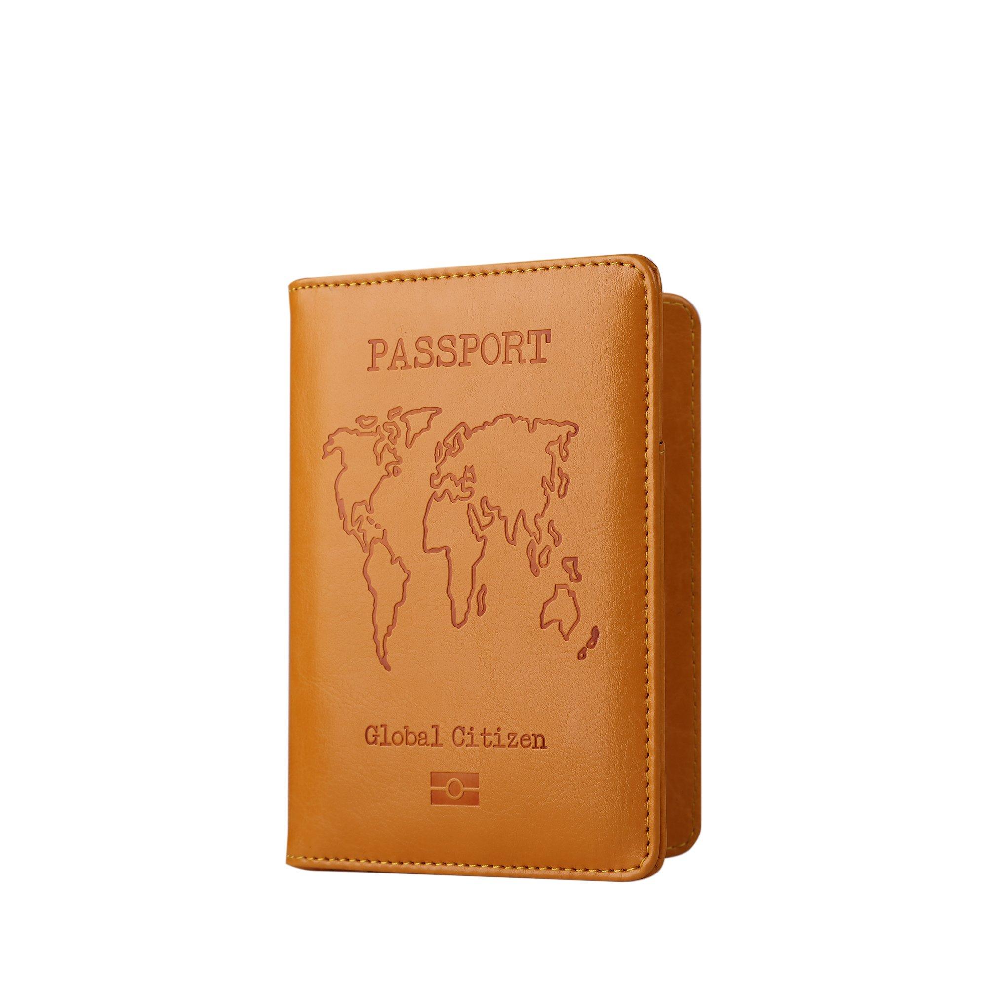 PU Leather Passport Holder Cover Case RFID Blocking Travel Wallet Credit Card Organizer (Yellow)