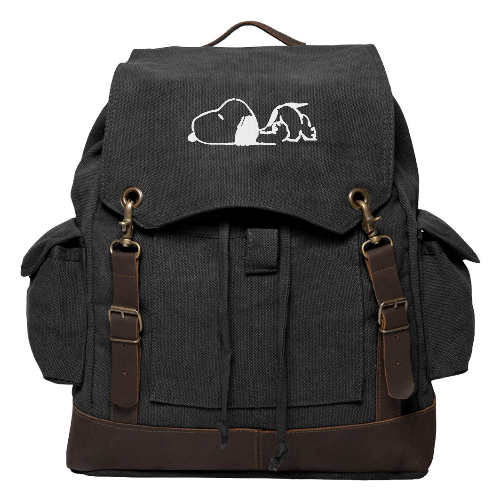 Snoopy Laying Flat Vintage Canvas Rucksack Backpack with Leather Straps Olive /& Bk Grab A Smile GSRS-OL8704-BK233