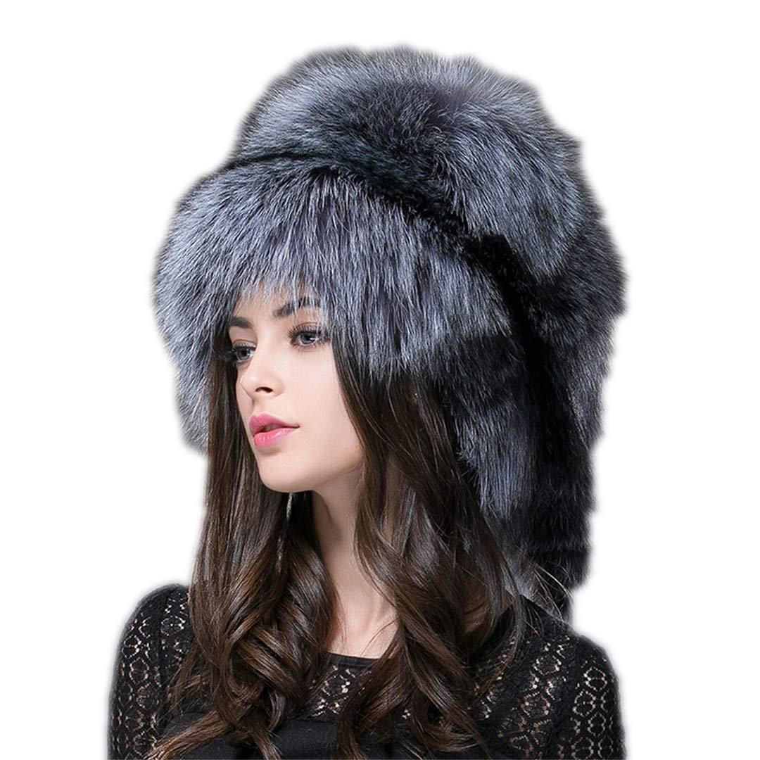 Women 'S Genuine Raccoon Dog Russian Fur Hat Real Fox Fur Hat e Mongolian Hat sliver fox