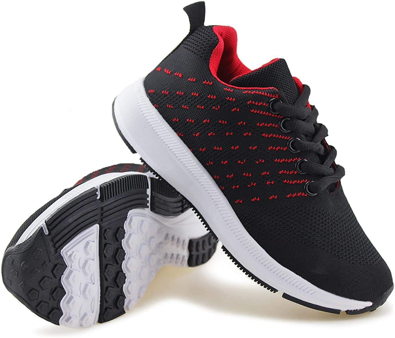 Jabasic Kids Knit Shoes Boys Girls Lightweight Lace Up Trail Running Sneakers