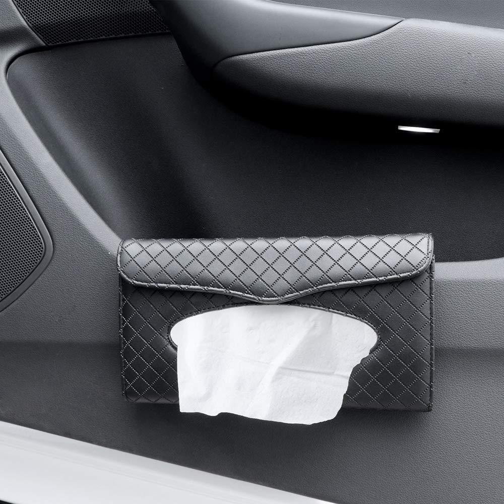 Beaverve Car Tissue Holder Sun Visor Napkin Holder Hanging Car Tissues Holder for Car /& Truck Decoration Luxury Tissue Box Holder for Car PU Leather Backseat Car Tissue Box with 1 Tissue Refill