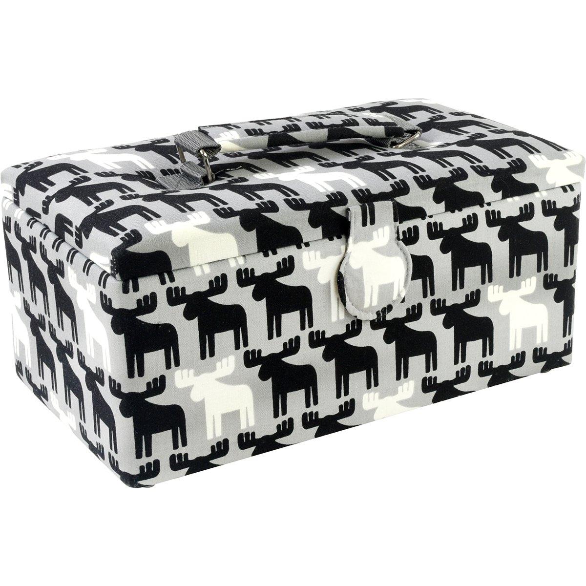 Saint Jane St Jane Sewing Basket Large Oval Metal Hndl Ntions BasketLargeOvalMetalHndlNtions Black//White