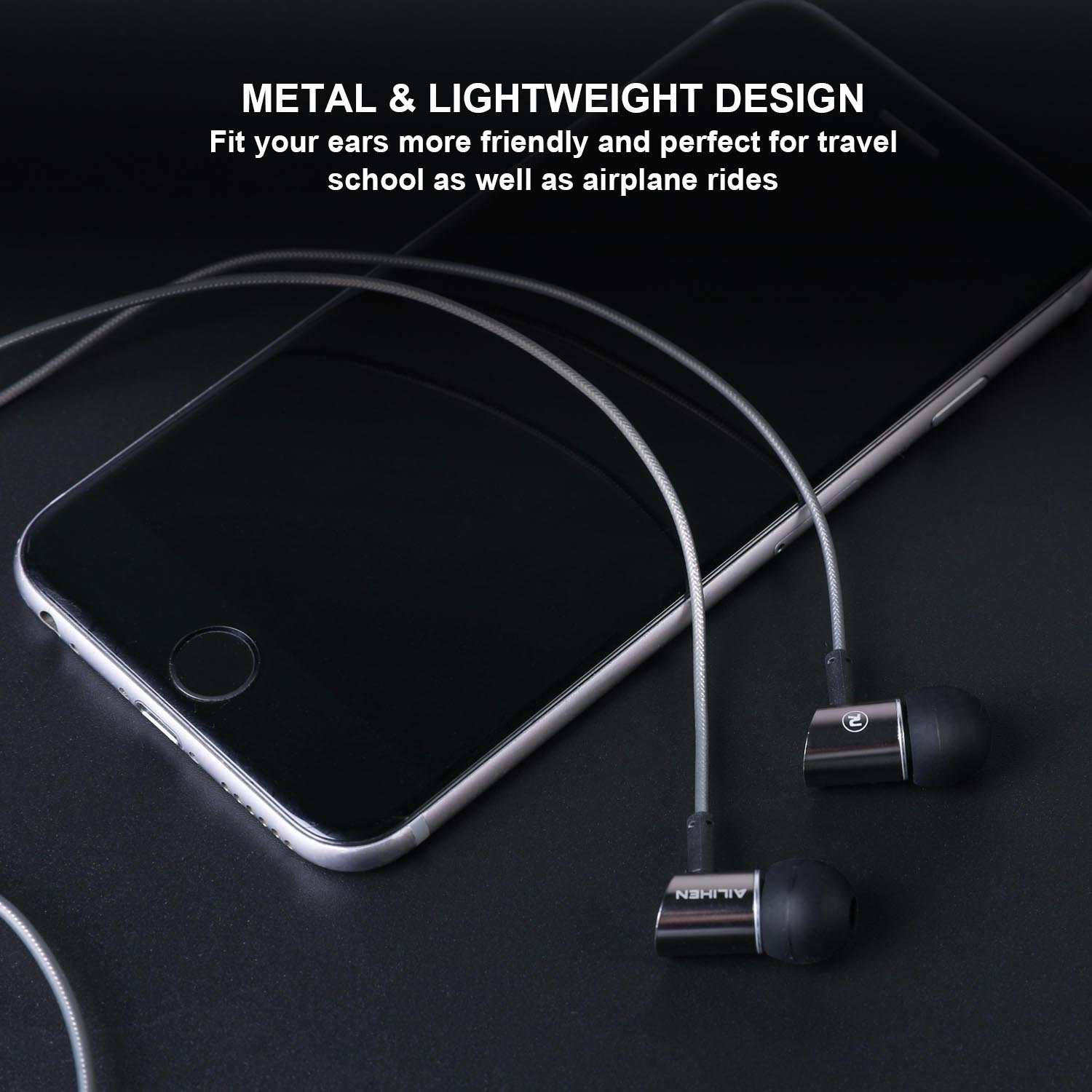 AILIHEN Metal Earbuds with Microphone In Ear Headphones Wired Earphones for Android/IOS Cell Phones iPad iPod Laptop Tablet Computer by AILIHEN (Image #5)