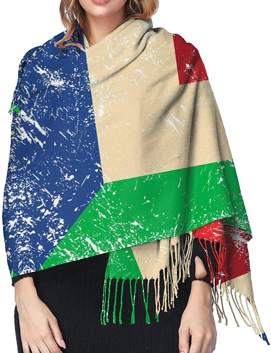 Italy and Netherlands Retro Flag Cashmere Scarf Shawl Wraps Super Soft Warm Tassel Scarves For Women Office Worker Travel