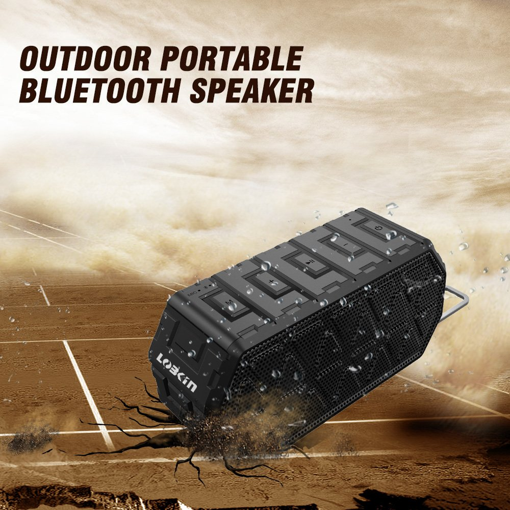Lobkin Portable Bluetooth Speaker Waterproof Outdoor Home Speaker 10 Hours Playtime for iPhone, Gift, Pool, Beach, Golf Meeting(X8 BLK)