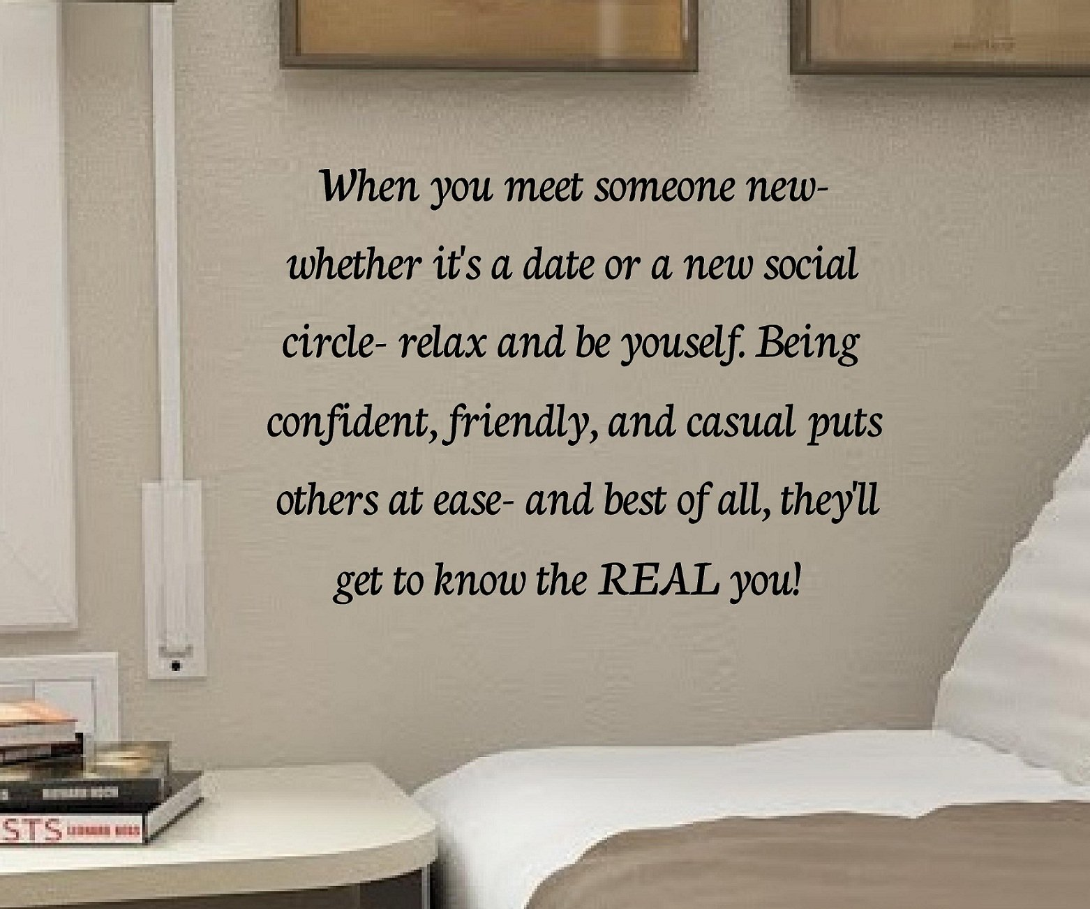 When You Meet Someone New Whether It's a Date or a New Social Circle-relax and Be Yourself. Being Confident, Friendly, and Casual Puts Others At Ease- And Best of All, They'll Get to Know the Real You! 22x16 Inches Vinyl Car Sticker Symbol Silhouette Keyp