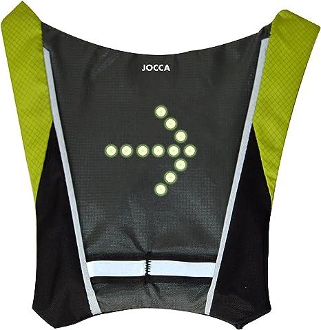 Jocca Chaleco Bicicleta Unisex con indicador de luz LED, Negro ...