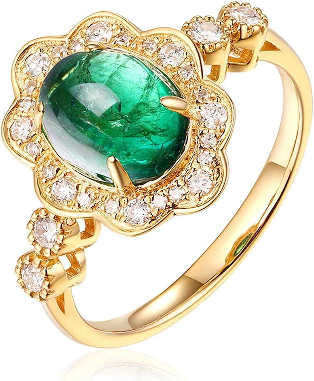 Daesar Anillo Mujer Oro Amarillo 18K Flor Oval Esmeralda Verde Blanca 1.9ct Talla 6,75-25