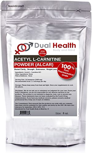 Pure Acetyl L-Carnitine ALCAR Powder 8 oz Bulk Supplements