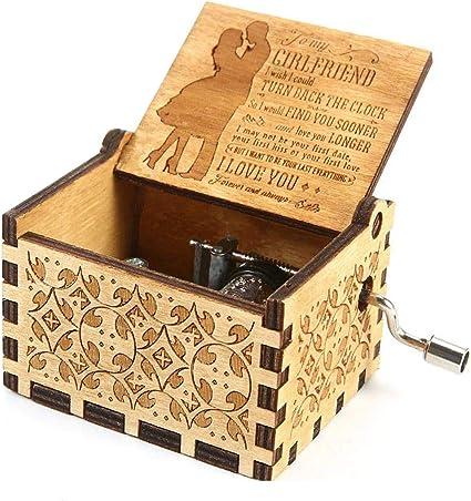 RUYE You Are My Sunshine Caja de música de Madera, Caja de música Personalizable, Grabado con láser, Vintage, Caja de Madera para Regalo de cumpleaños o Navidad: Amazon.es: Hogar