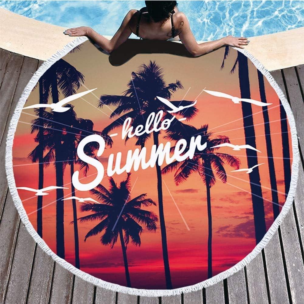 Toalla de playa redonda gruesa con estampado de letras, tamaño grande, toalla de playa con flecos, supersuave, absorbente, a prueba de arena, para playa, camping, piscina, viajes