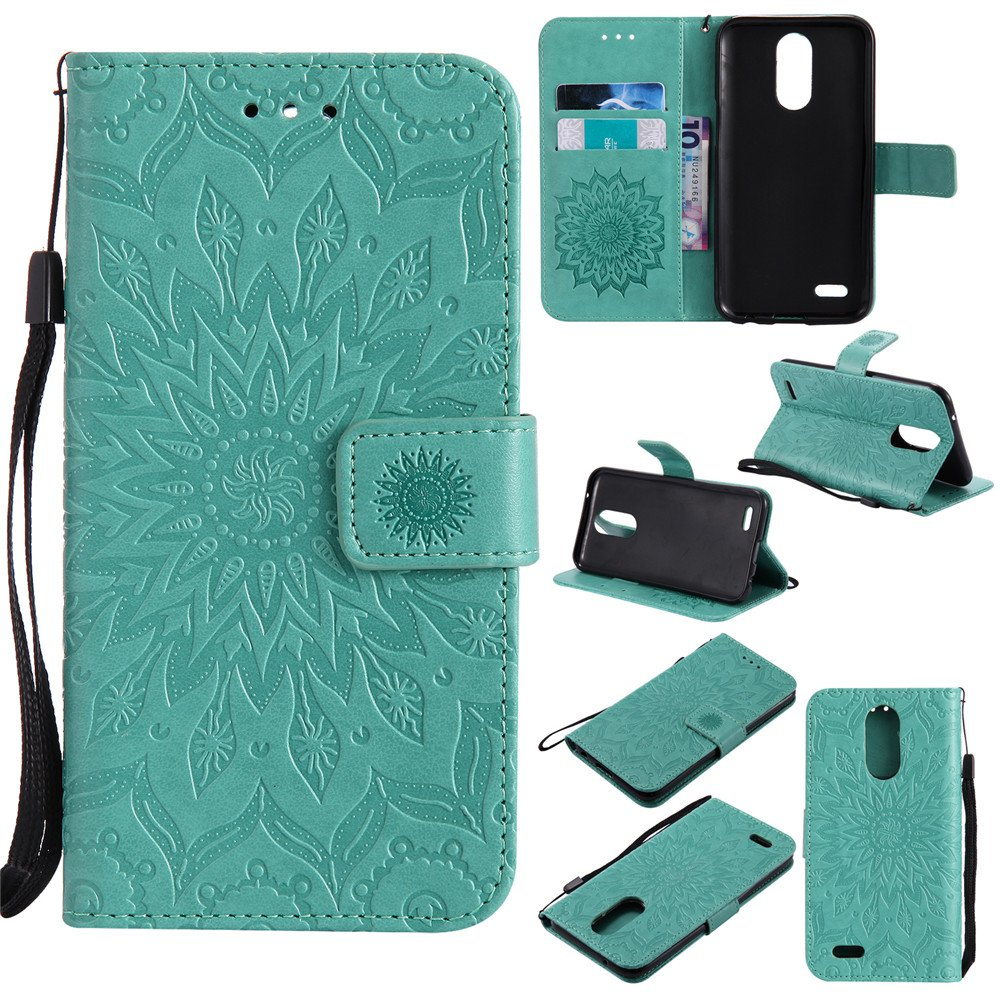 XYX Wallet Case for LG K20 V, Sunflower PU Leather Phone Wallet Case for LG K20 V/LG K10 2017/LG K20 Plus/LG LV5, Green