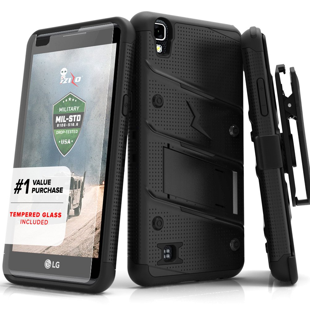 Zizo Bolt Series compatilbe with LG X Power Case Military Grade Drop Tested with Tempered Glass Screen Protector, Holster, Kickstand Black