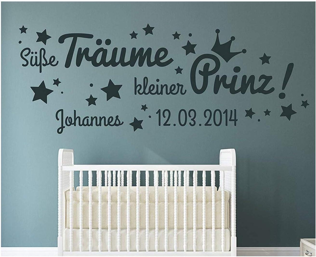 WANDTATTOO Unser kleiner Prinz mit Geburtsdatum und Namen Junge Wandaufkleber