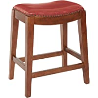 Office Star Metro Bonded Leather Counter-Height Saddle Stool with Nail Head Accents and Espresso Finished Legs