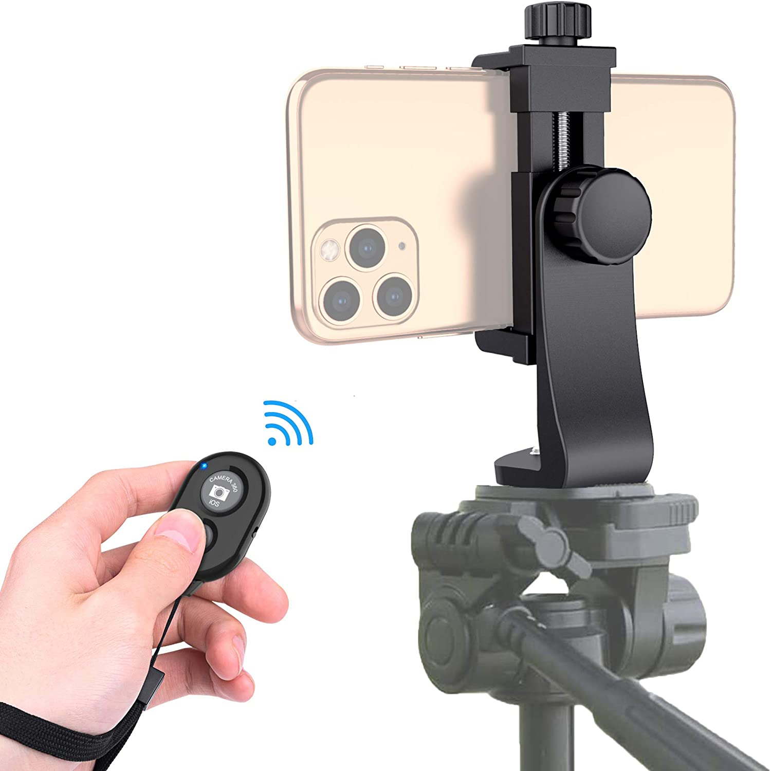 Universal Phone Tripod Mount Adapter with Bluetooth Camera Remote, Cell Phone Holder with Adjustable Clamp for Selfie Stick Monopod Compatible with iPhone, Samsung and so on, Wrist Strap Included: Camera & Photo