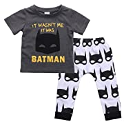 Baby Boy Batman Outfits Gary Short Sleeve T-Shirt Tops Comic Hero Summer Clothes (Gray, 6-12months)