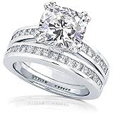 3ct TW Cushion-cut Moissanite and Princess Diamond Bridal Set in 14k White Gold - Size 4.5