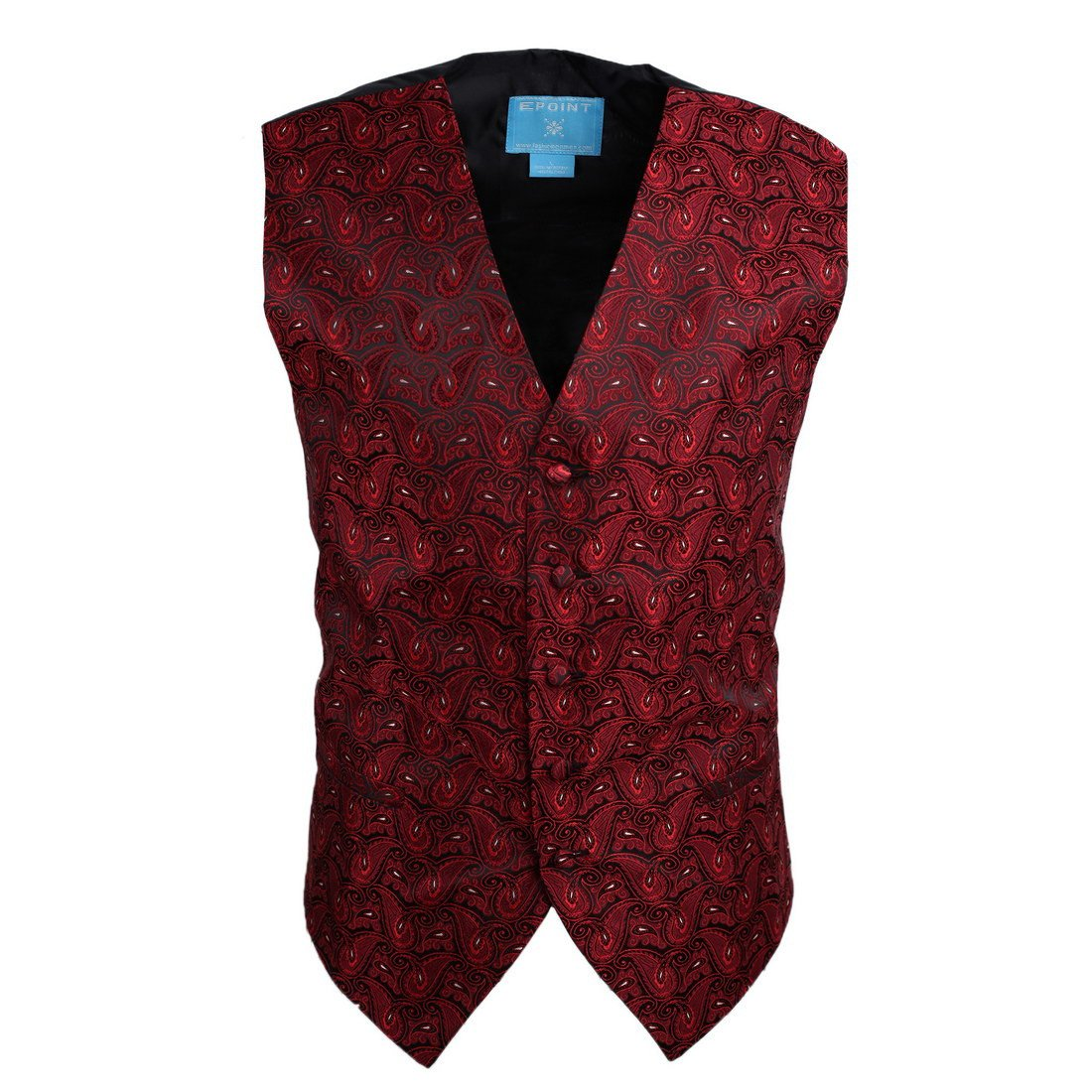 EGC1B08D-XL Red Black Patterned Love For Meeting Waistcoat Woven Microfiber Young Gentlemen X-Large Vest By Epoint