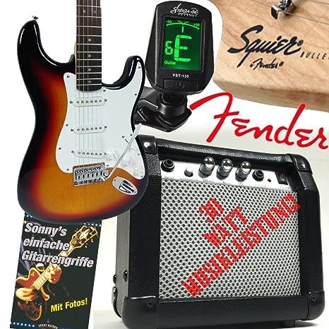 Fender set de guitarra eléctrica Bullet Strat SUNBURST, con amplificador de 30 vatios, libro