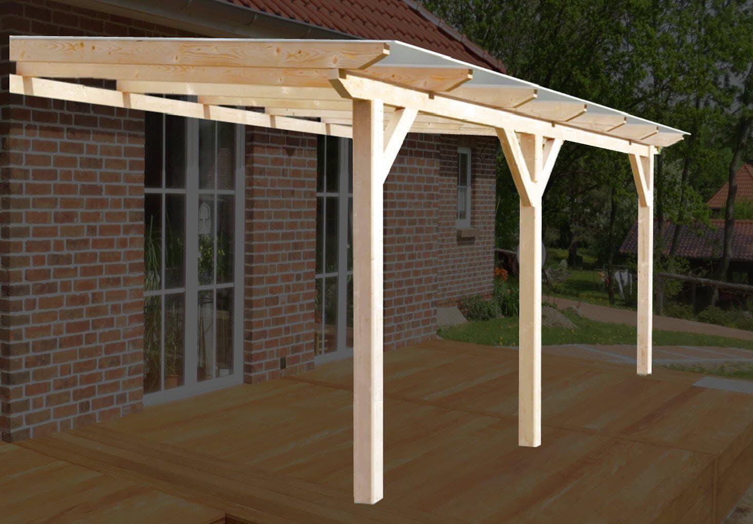 H.A.P Premium - Cubierta para terraza de madera encolada de 400 x 350 cm + planchas alveolares + accesorios – sin tratar / natural – cubierta para toldo de terraza de madera,