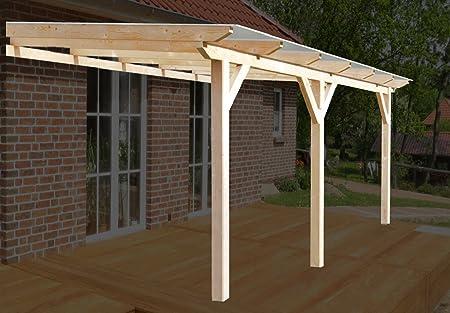 solidBASIC - Toldo para terraza de madera encolada de 500 x 400 cm (ancho x profundo) + planchas alveolares + accesorios – sin tratar/natural – techo para terraza de madera, toldo de