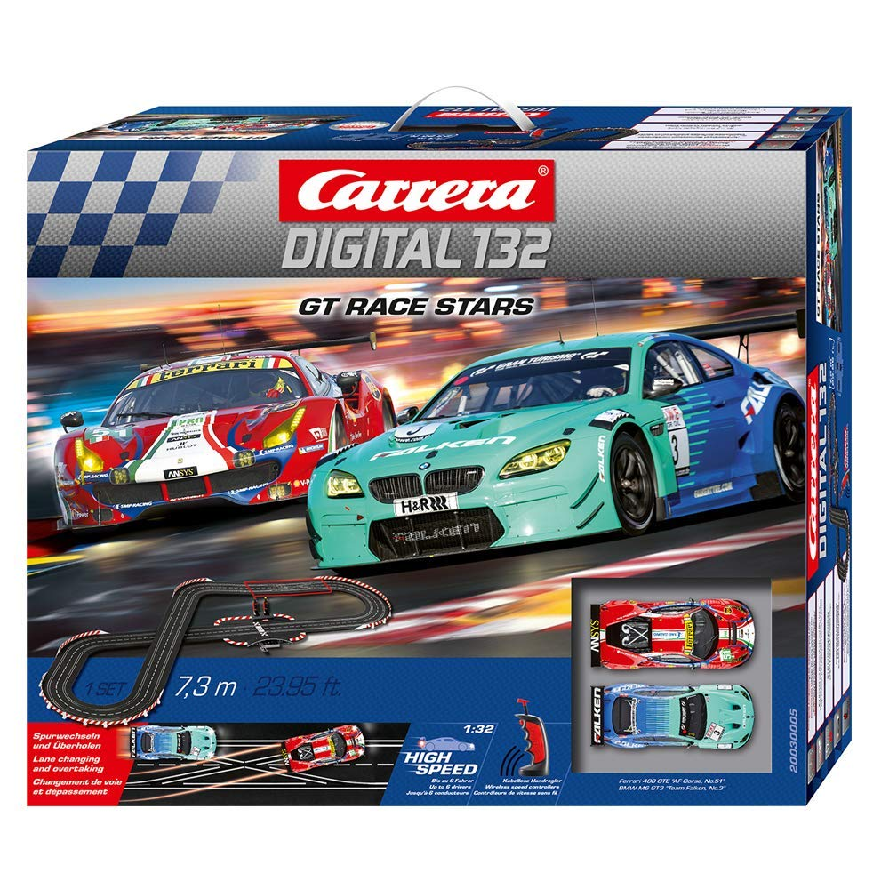 Carrera 30005 Digital 132 GT Race Stars Slot Car Racing System Set - Includes Ferrari 488 GT3, BMW M6 GT3, and 2 Wireless 2.4 GHz Controllers