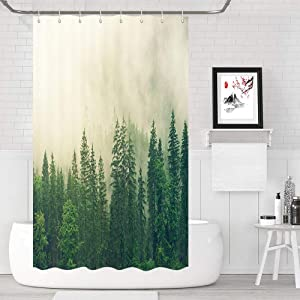 Camper Shower Curtains for Travel Trailers, Fog Woods Trees Landscape Fabric Shower Curtain for Camper Trailer Camping, Waterproof Shower Curtain Bathroom Decor, 47 X 64 in, Green