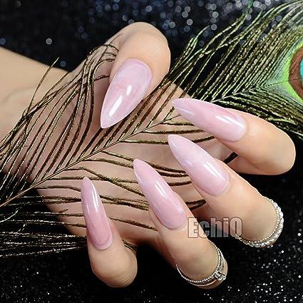echiq brillante rosa mármol carcasa largo Sharp Stiletto falso uñas rosa piedra textura falso uñas completo