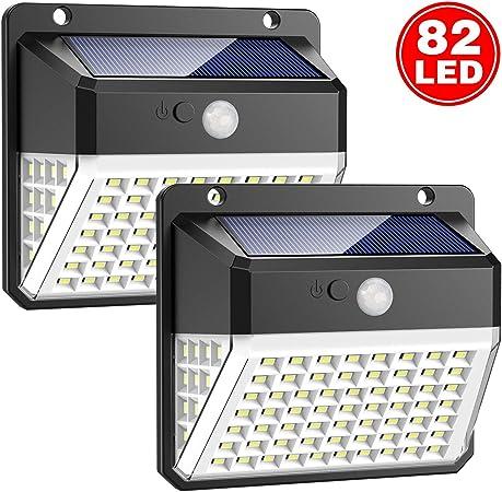 Luz Solar Exterior, 82 LED Trswyop Foco Solar Exterior Gran Ángulo 270º, Lámpara Solar Exterior Impermeable 3 Modos y Sensor de Movimiento para Jardín, Patio, Garaje, Camino [2 Paquete]: Amazon.es: Hogar