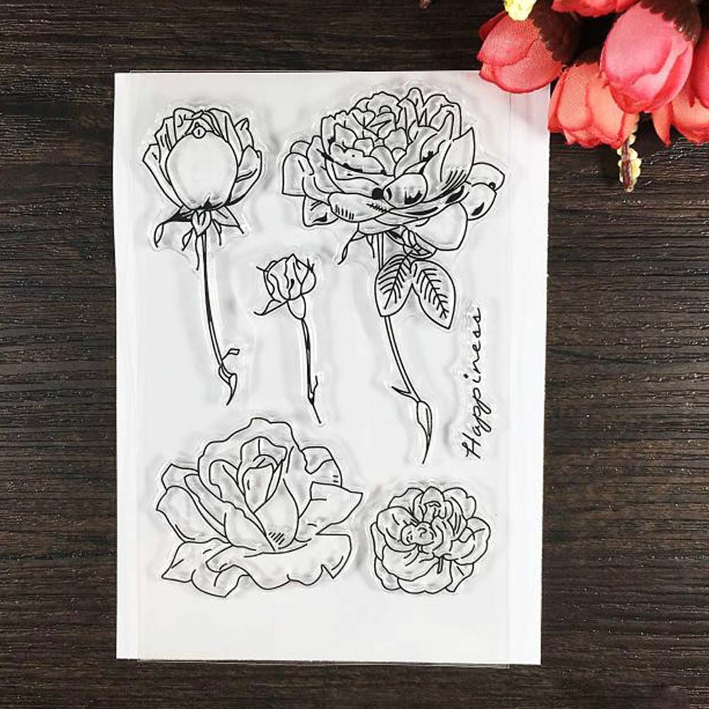 Flower design trasparente francobolli sigillo, 1 foglio di silicone trasparente stamp Seal rose fiore DIY scrapbooking album carte decorazione photo album Gift Woopower