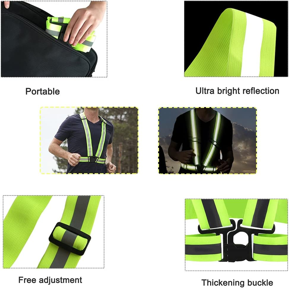 Reflective Safety Visibility Vest Green//Orange Night Running Walking Warning Dt