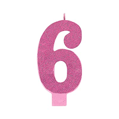 "Amscan 170357 6 Large Glitter Numeral Candle, 5 1/4"", Pink: Kitchen & Dining"