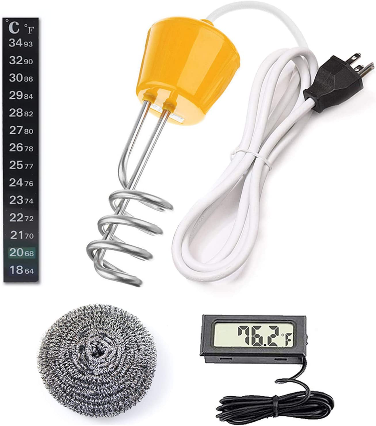 Amazon Com Andrimax Immersion Water Heater Portable Floating Electric Stainless Steel Heater With Digital Thermometer For Quick Heat 5 Gallons Of Water In Minutes U S Version Kitchen Dining