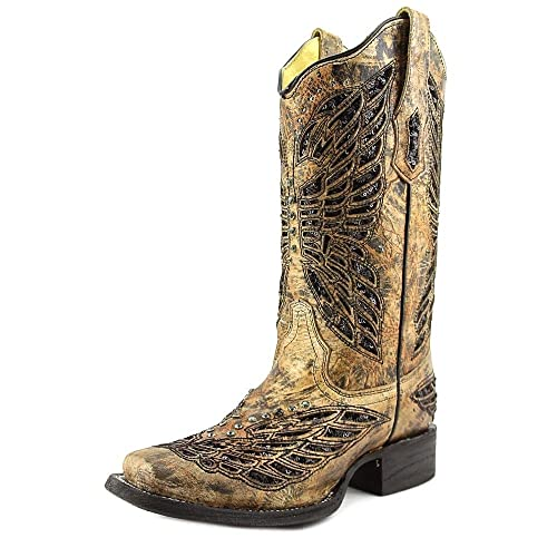 6ac50a522cf Amazon.com | CORRAL Women's Butterfly Sequin Inlay Cowgirl Boot ...