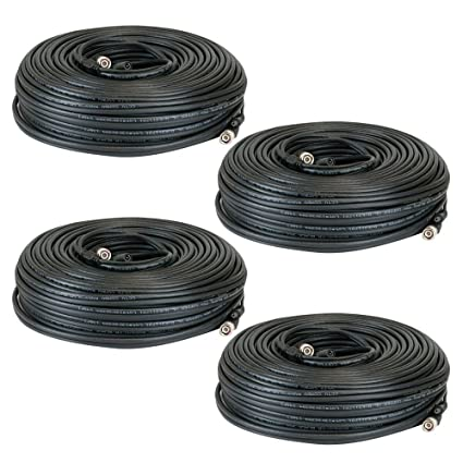 GW Security Premade 4 x 150 feet Siamese CCTV Coaxial Cable RG59 Combo Cable for Connecting