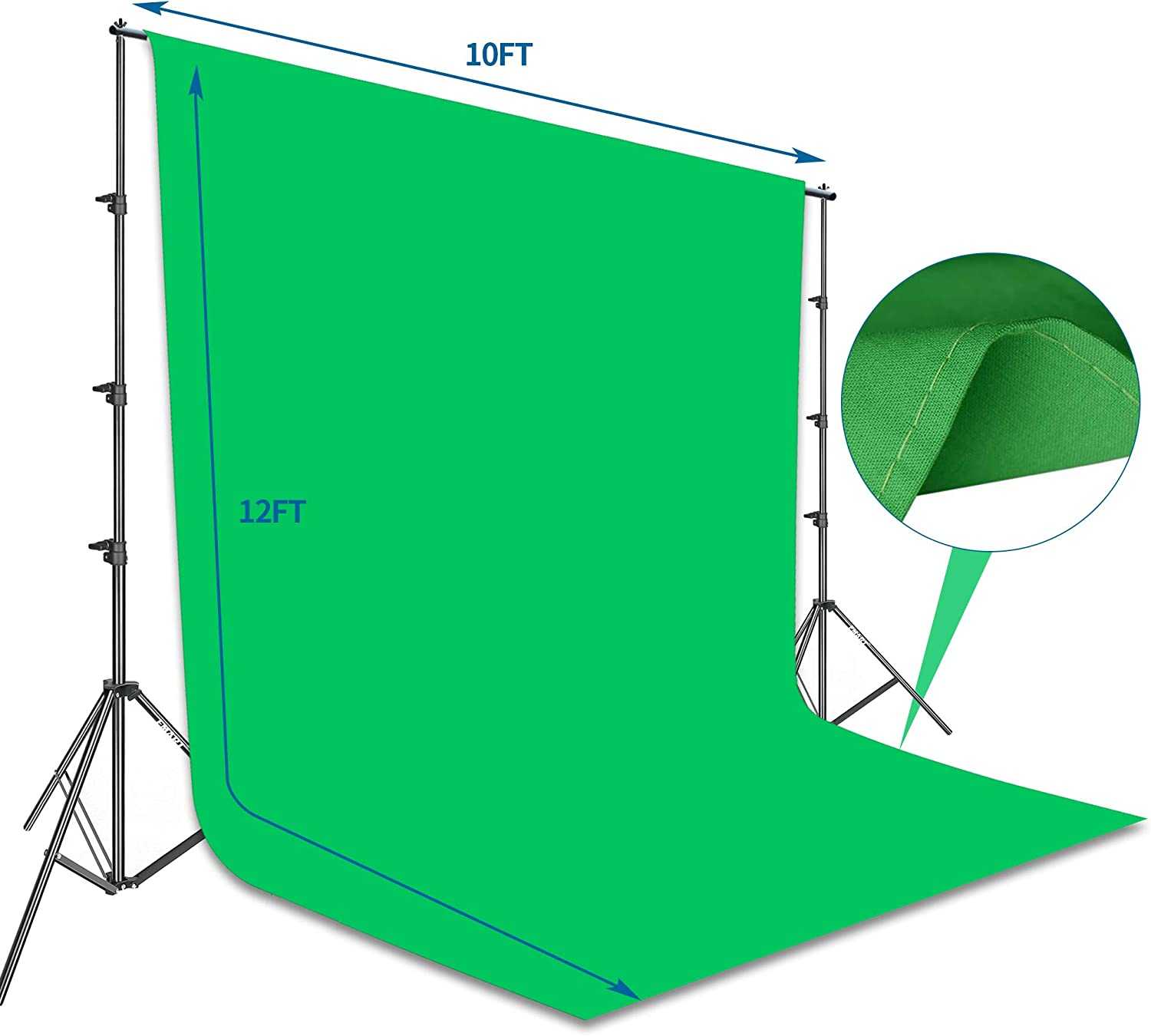 Photography Background Support System with 10 x12ft 100/% Cotton Muslin Chromakey Backdrop Emart Photo Video Studio 8.5 x 10ft Green Screen Backdrop Stand Kit