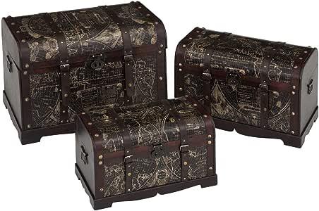 Baules de Madera Marrones Decorativos clásicos para salón Bretaña - LOLAhome: Amazon.es: Bricolaje y herramientas