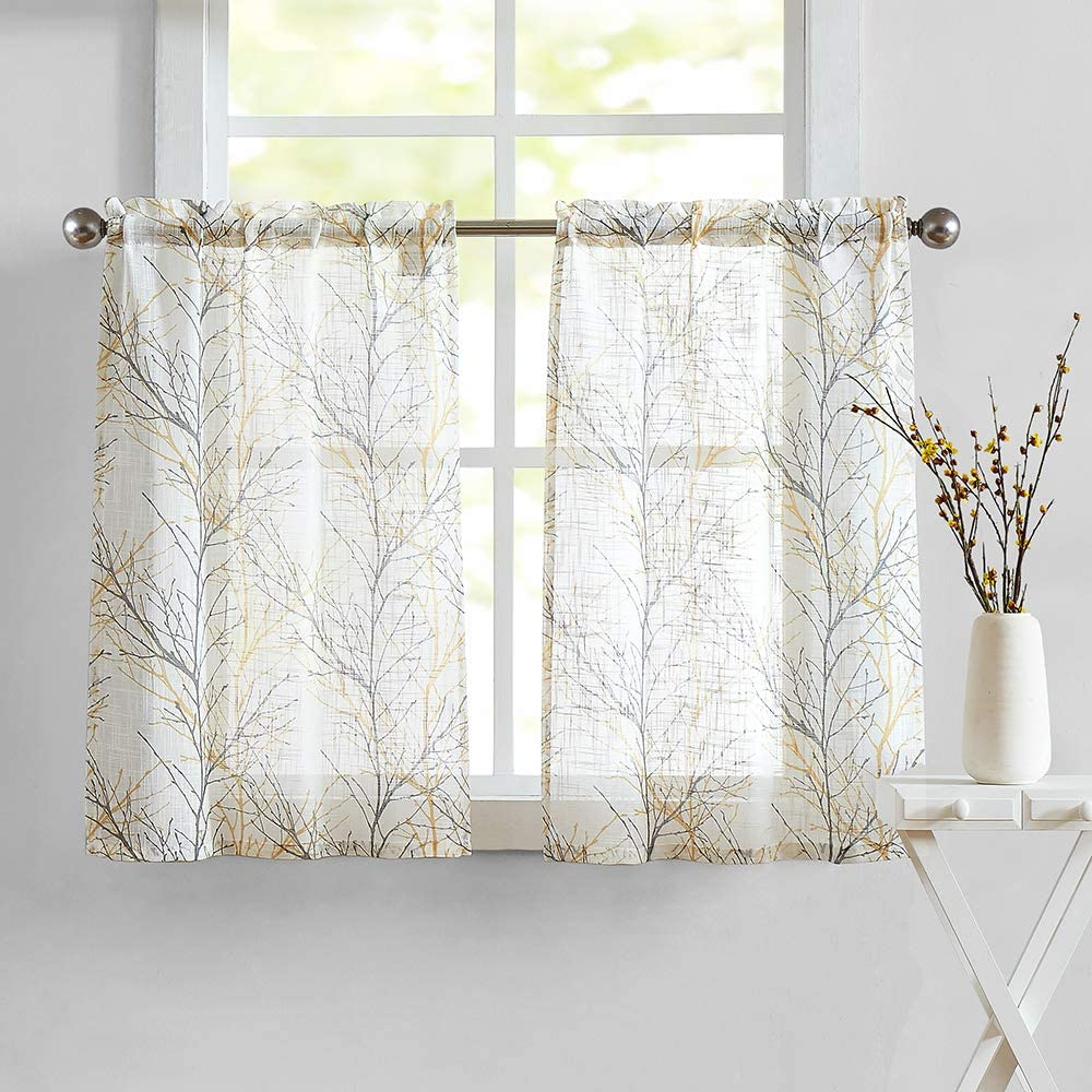 """White Yellow Kitchen Curtains for Bathroom Tree Branch Print Small Tier Curtains 24"""" Café Curtain Set, 2 Panels"""