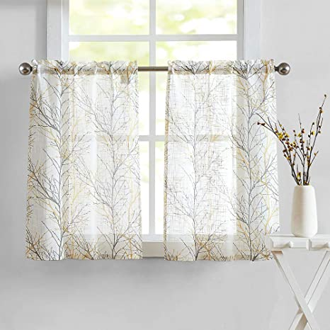 White Yellow Kitchen Curtains For Bathroom Tree Branch Print Small Tier Curtains 24 Café Curtain Set 2 Panels Amazon Ca Everything Else