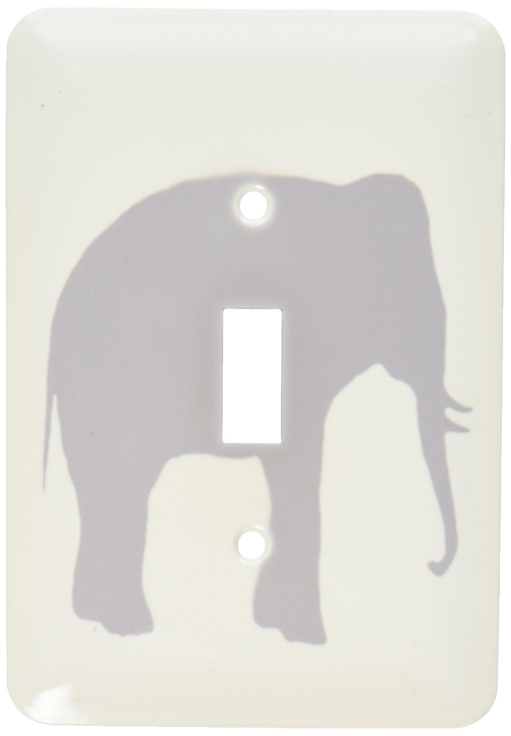 3dRose lsp_164908_1 Grey Elephant Silhouette. Gray Animal on White Modern Minimalist Style Single Toggle Switch