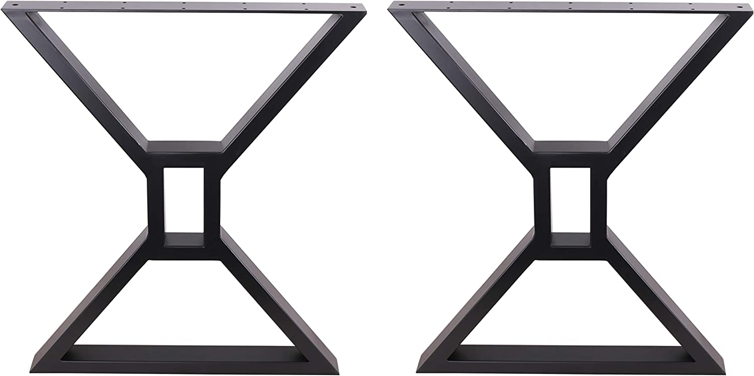 Eclv 2 X 28 Dining Table Legs Hollow X Shaped Steel Table Legs Office Table Legs Computer Desk Legs Industrial Kitchen Table Legs Set Of 2 Black
