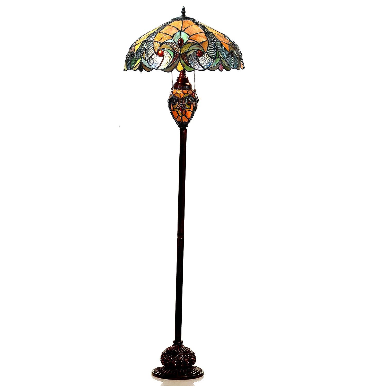 Chloe Lighting CH18780VA18-DF3 Liaison Tiffany-Style Victorian 3-Light Double Lit Floor Lamp with 18 Shade